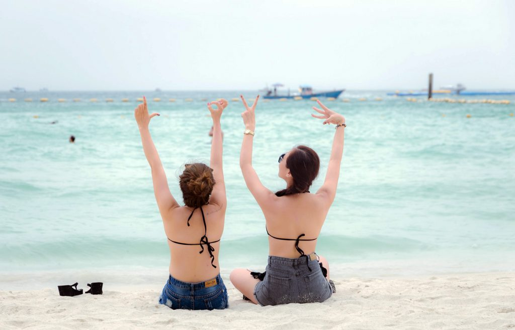 Two girls on a Pattaya beach