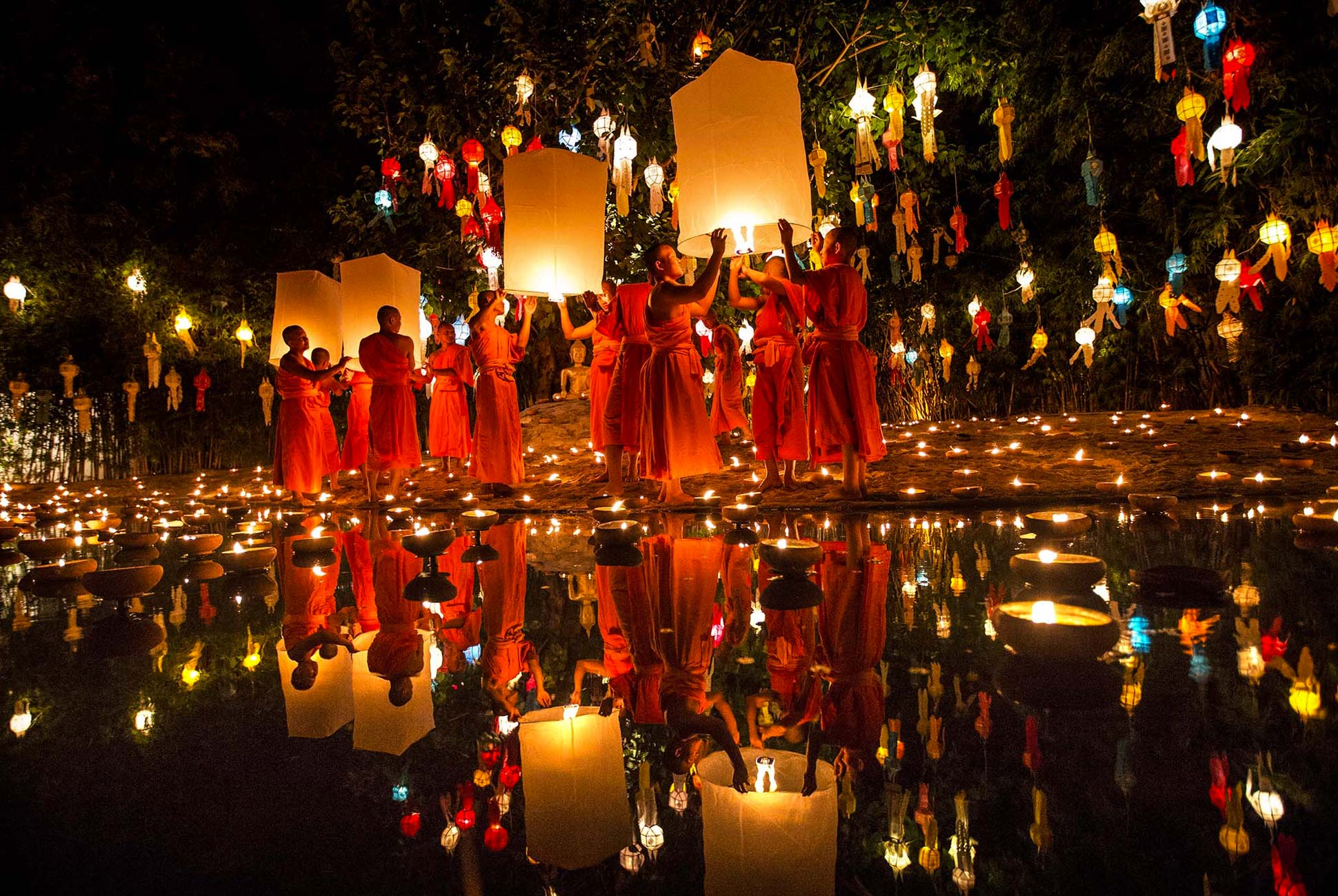 Loy Krathong Festival of light in Chiang Mai, Thailand