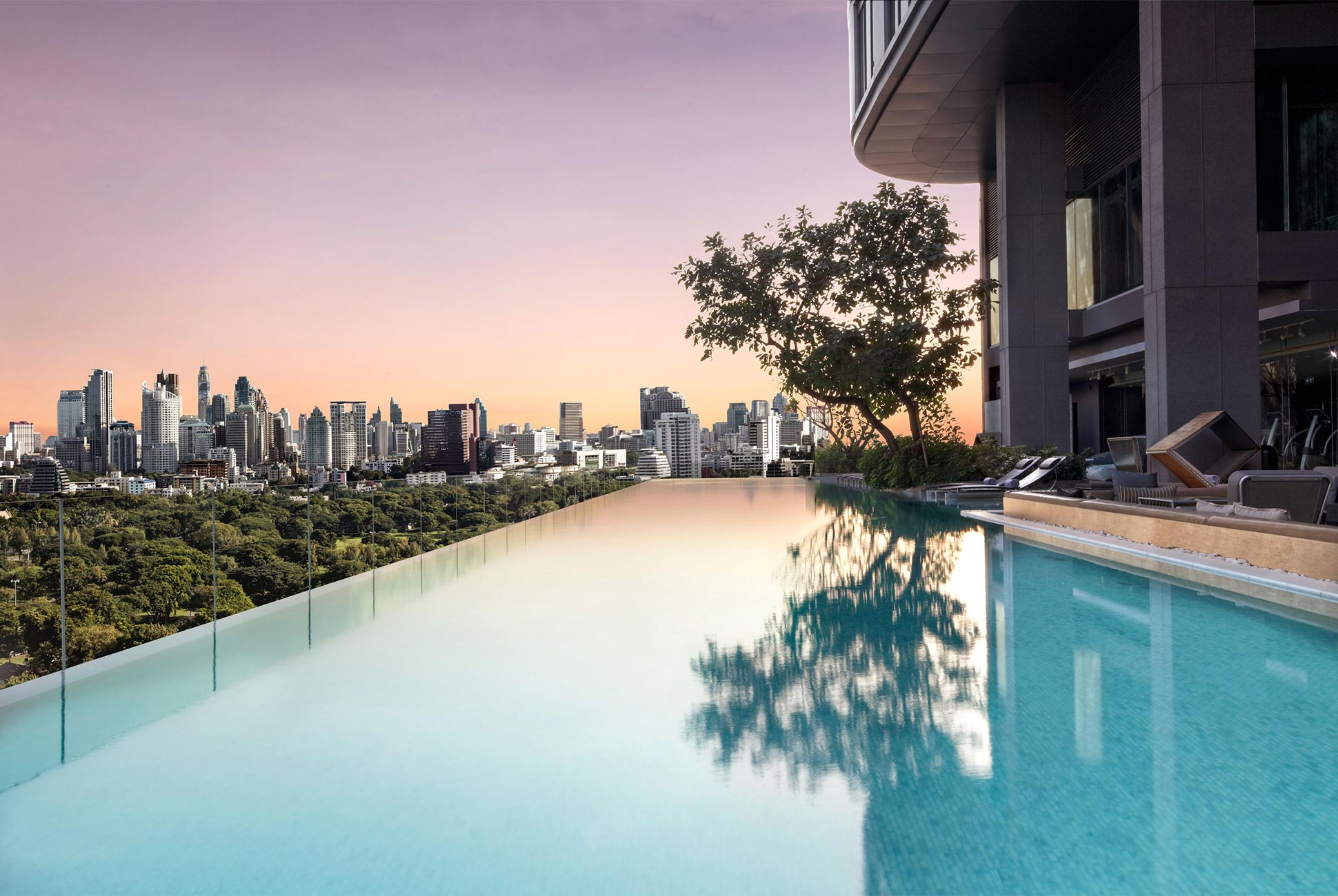 The skyline-fringed party pool at SO Sofitel, Bangkok