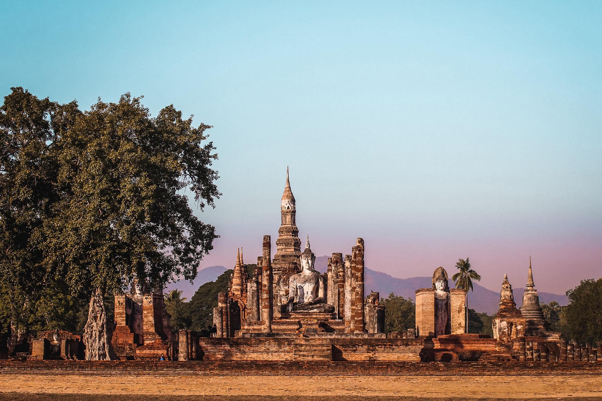 A temple in Sukhothai at dusk. Sukhothai, Thailand