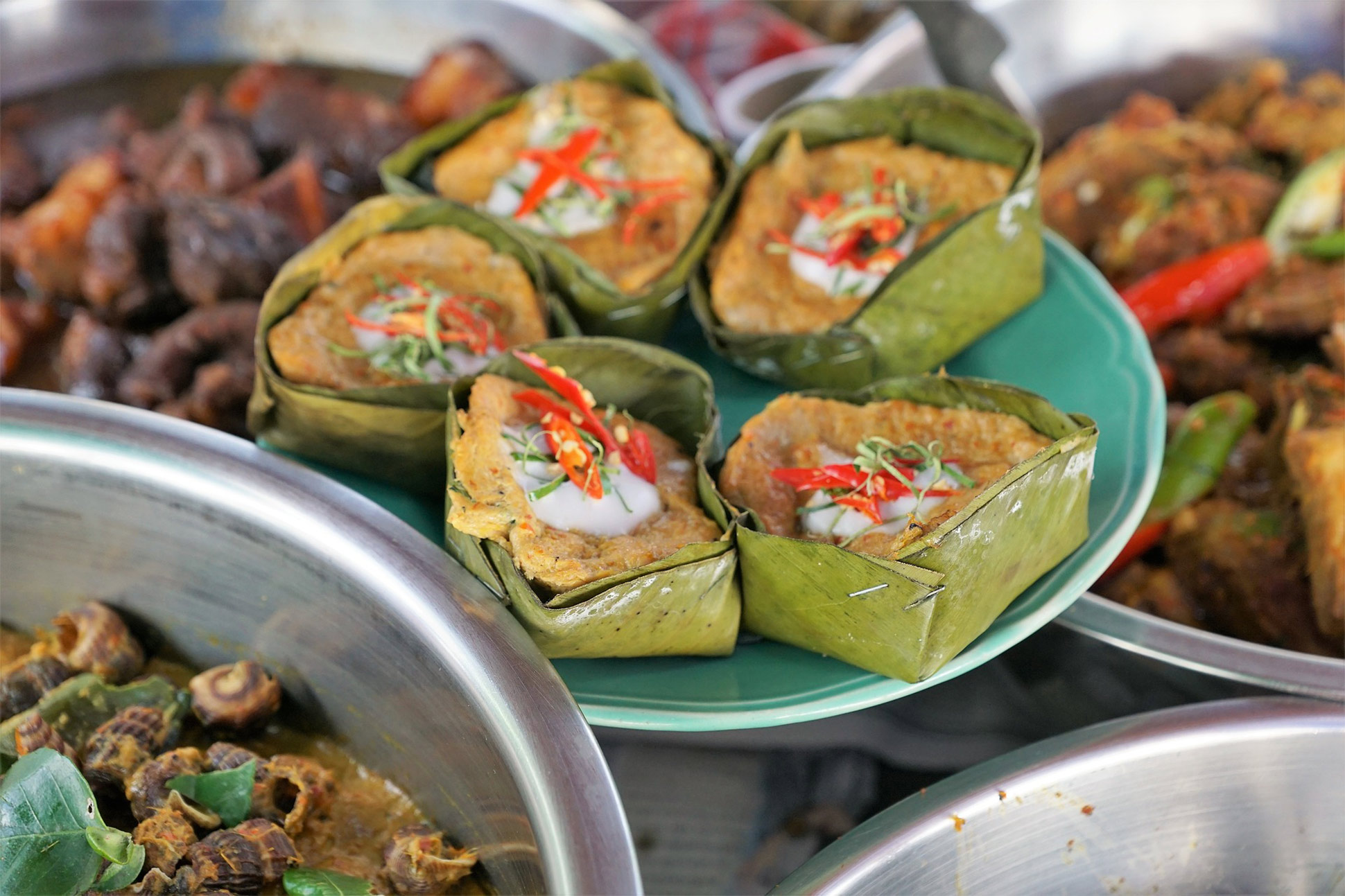 A variety of foods on offer at Lopburi's night market, Lopburi, Thailand.