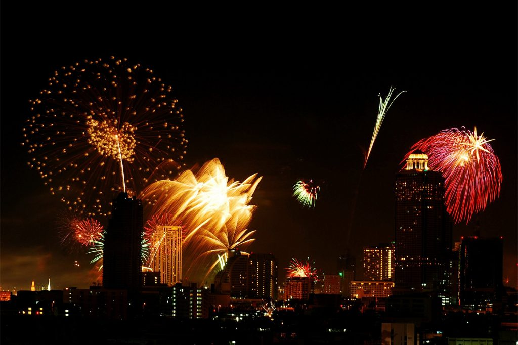Fireworks over Bangkok, Thailand, are in integral part of the local Loy Krathong celebrations.