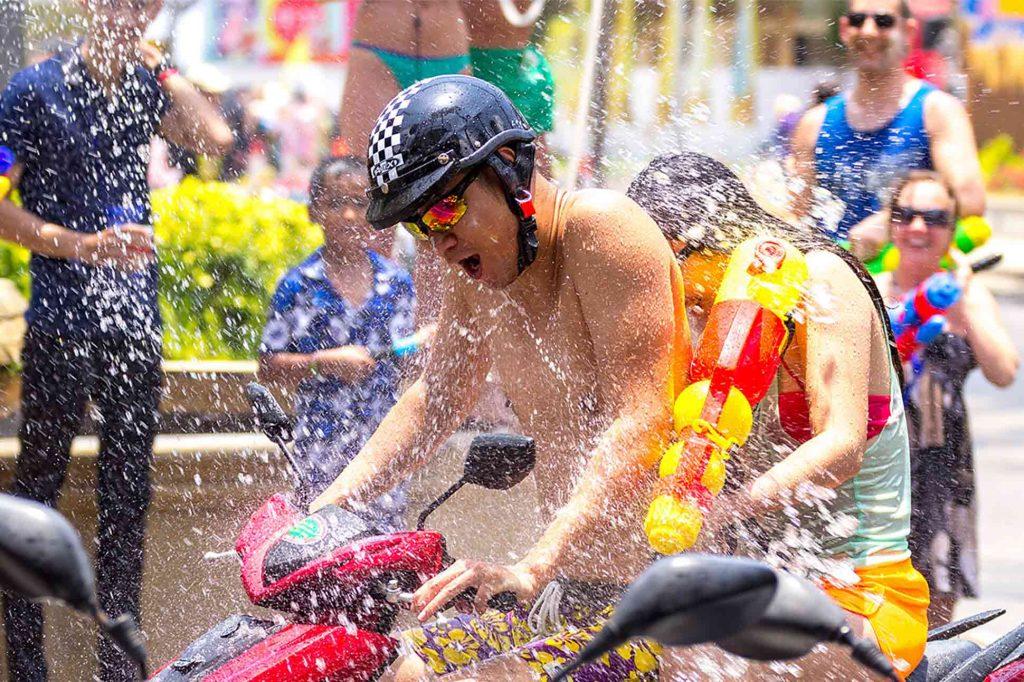 Water splashing during Songkran festivities in Bangkok, Thailand