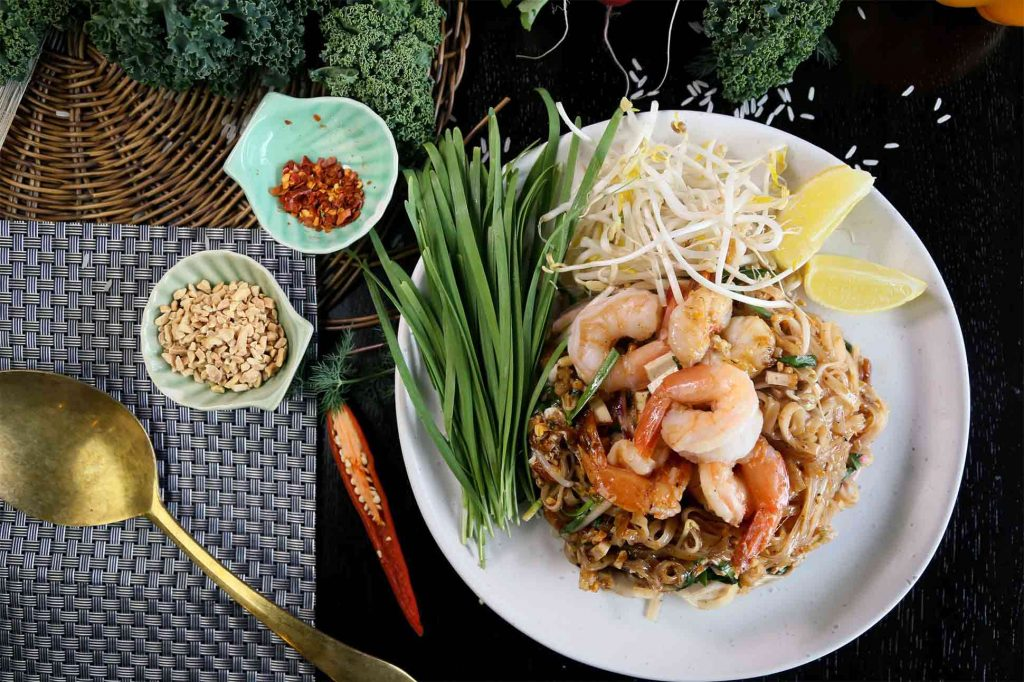 Pad Thai made in a cooking school